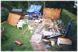 Neighbours from Hell - Mark building a garden shed after we moved in.