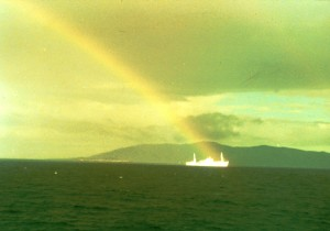 The rainbow promise: those of us who left behind all our plans and dreams that day, looked back at our stricken ship that had been abandoned and left to fill with water, were amazed to see God's message to us in this unexpected snapshot.